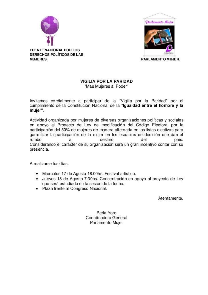 FRENTE NACIONAL POR LOSDERECHOS POLÍTICOS DE LASMUJERES.                                                   PARLAMENTO MUJE...