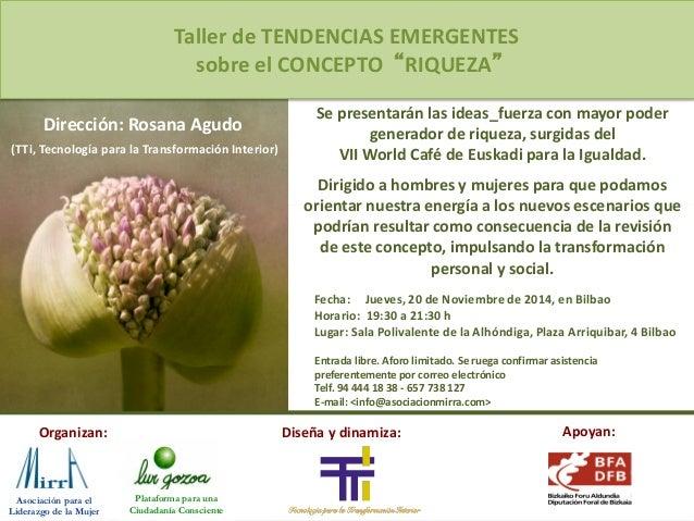 Fecha:  Jueves,  20  de  Noviembre  de  2014,  en  Bilbao  Horario:  19:30  a  21:30  h  Lugar:  Sala  BasRda  de  la  Alh...