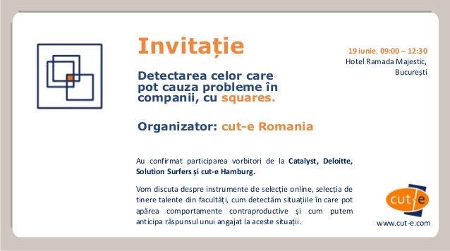 Au confirmat participarea vorbitori de la Catalyst, Deloitte, Solution Surfers și cut-e Hamburg. Vom discuta despre instru...