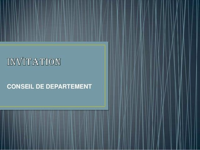 CONSEIL DE DEPARTEMENT