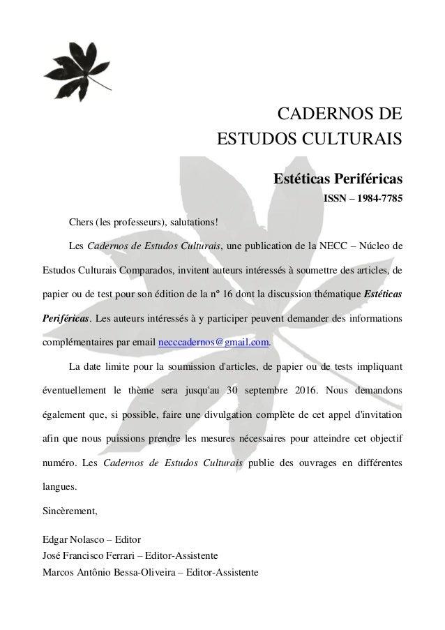 Invitation franais cadernos de estudos culturais estticas per stopboris Gallery