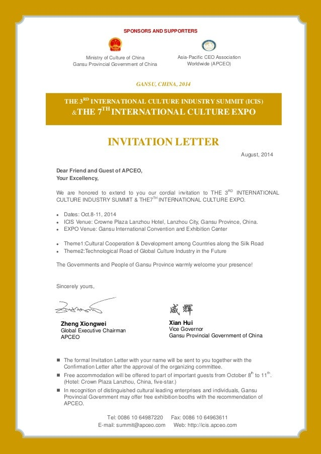3rd inernational culture industry summit icis the 7th internationa gansu china 2014 invitation letter august 2014 dear friend and guest of apceo stopboris Gallery