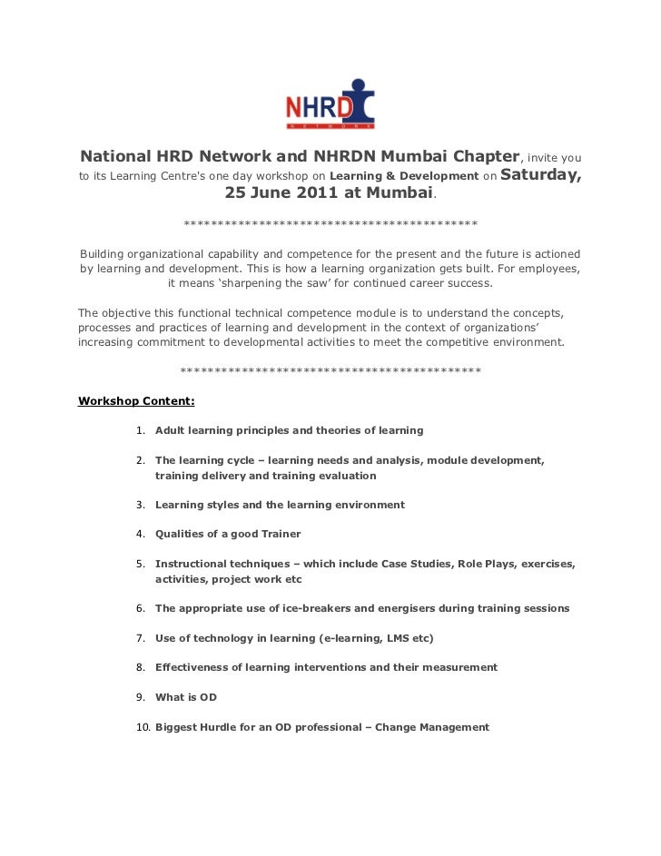 Lovely National HRD Network And NHRDN Mumbai Chapter , Invite Youto Its Learning  Centres One Day Workshop ...