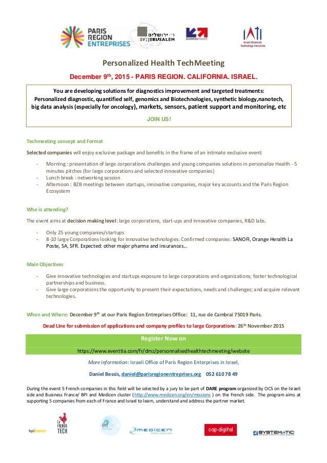 invitation personalized health tech meeting paris dec 9 2015