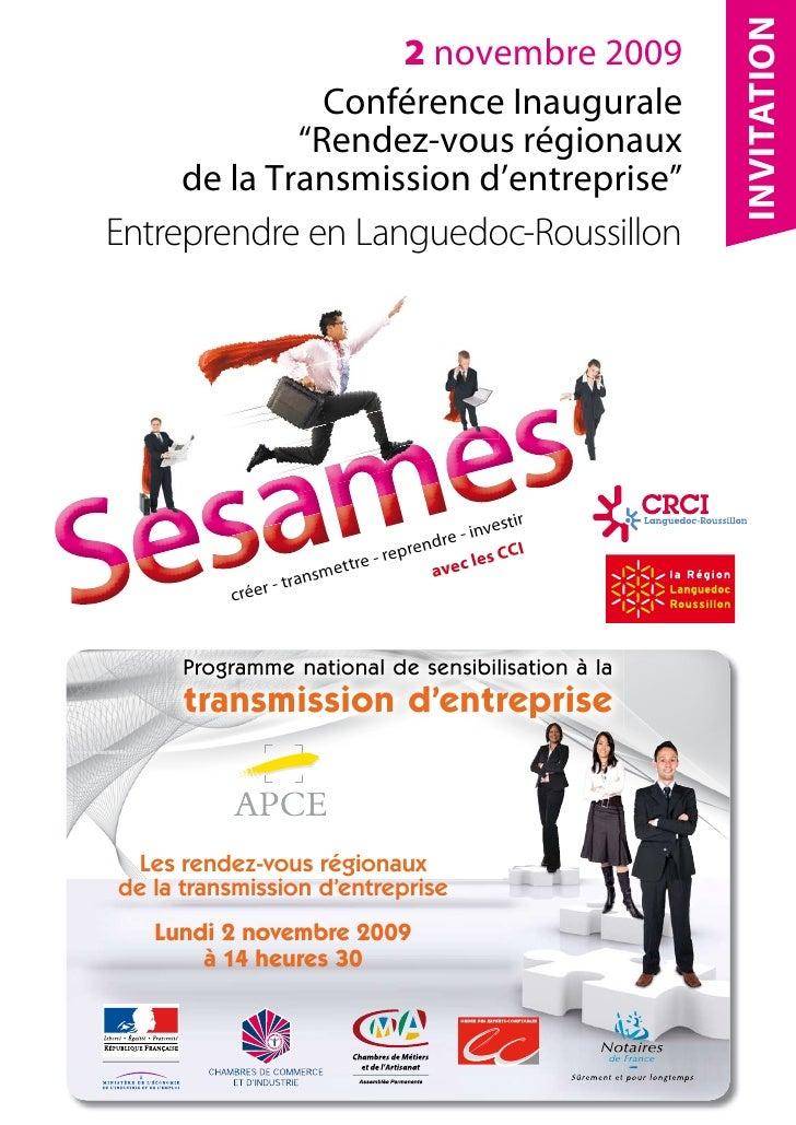 """INVITATION                    2 novembre 2009                Conférence Inaugurale              """"Rendez-vous régionaux    ..."""