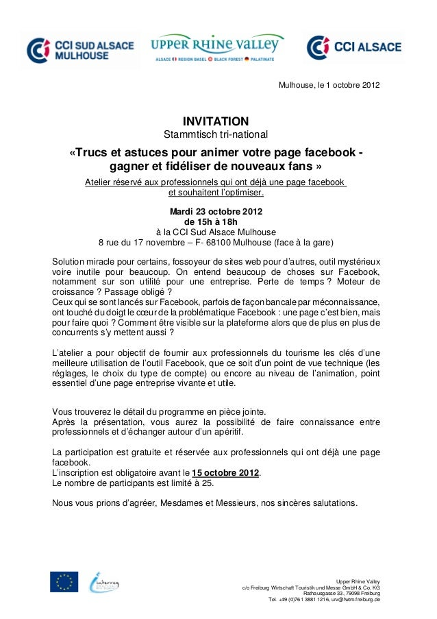 Mulhouse, le 1 octobre 2012                                  INVITATION                             Stammtisch tri-nationa...