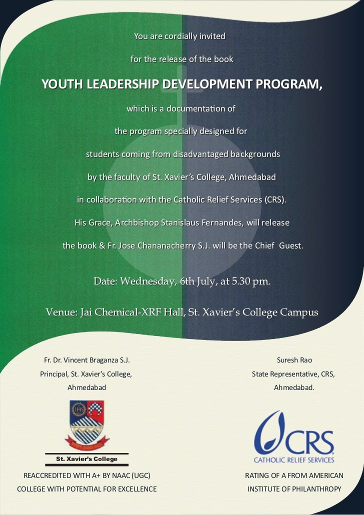 You are cordially invited                                       for the release of the book      YOUTH LEADERSHIP DEVELOPM...