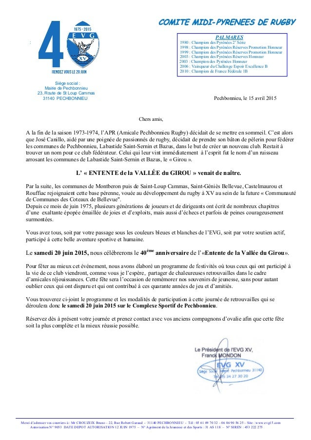 COMITE MIDI- PYRENEES DE RUGBY PALMARES : 1980 : Champion des Pyrénées 2e Série 1998 : Champion des Pyrénées Réserves Prom...
