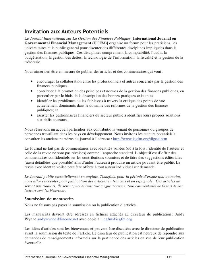 ,QYLWDWLRQ DX[ $XWHXUV 3RWHQWLHOV Le Journal International sur La Gestion des Finances Publiques [International Journal on...