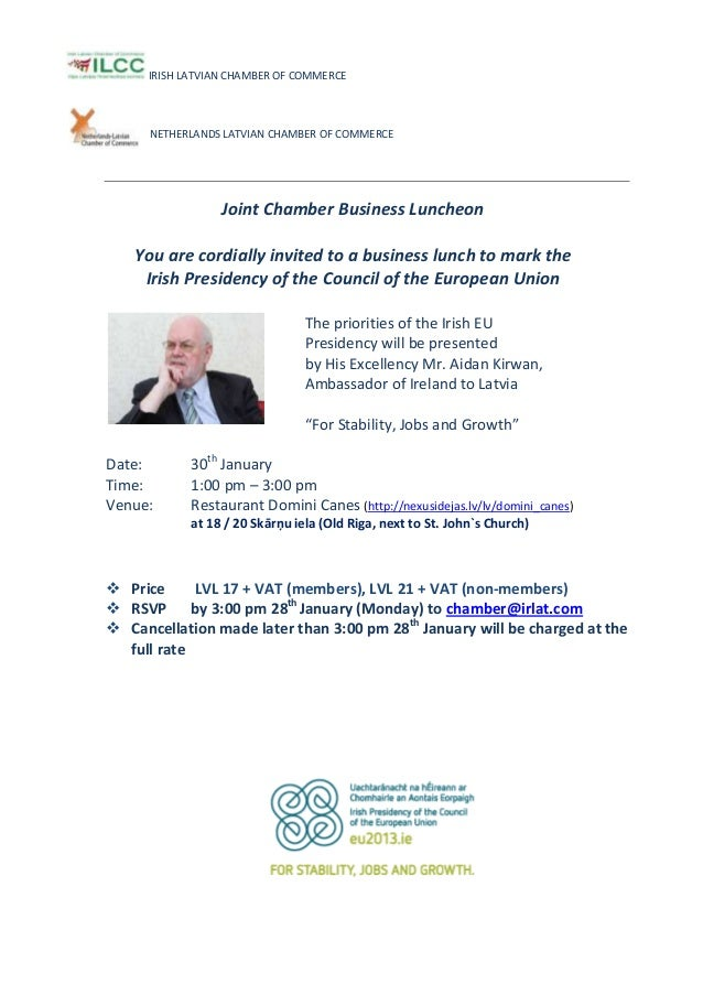 Invitation business lunch with ie ambassador