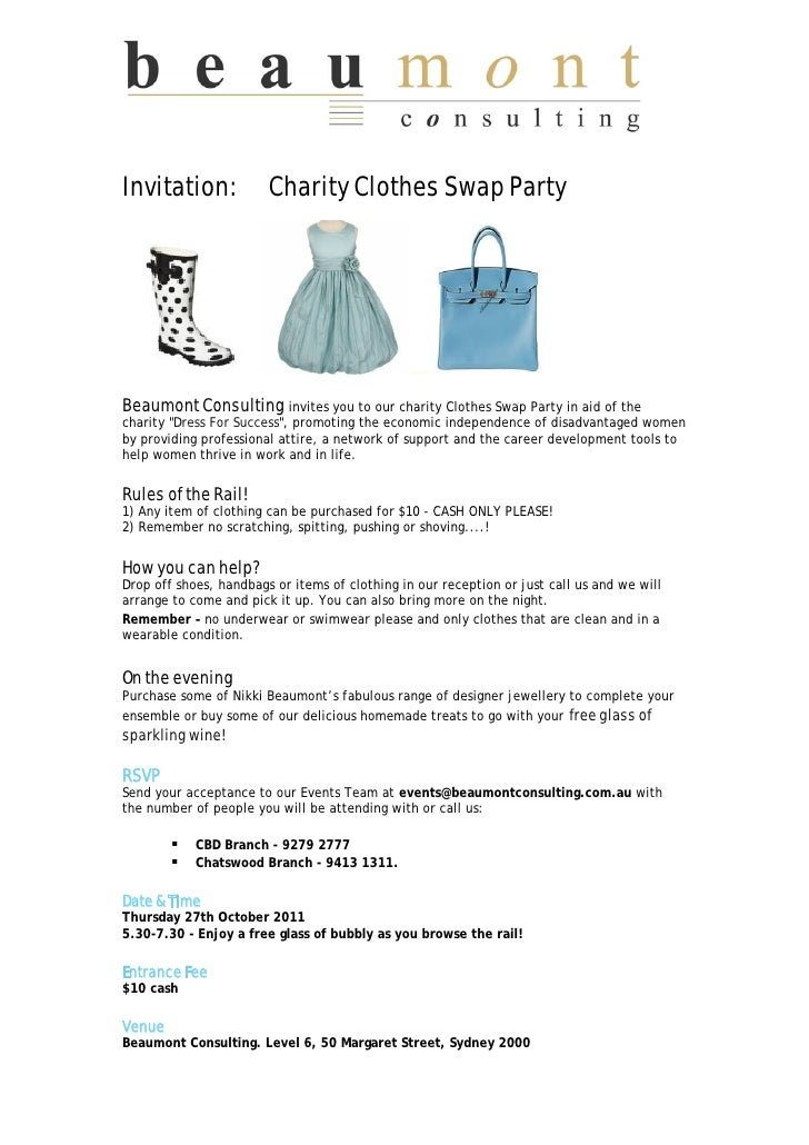 Charity Clothes Swap Party
