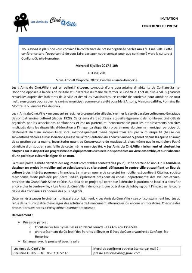 Les « Amis du Ciné.Ville » est un collectif citoyen, composé d'une quarantaine d'habitants de Conflans-Sainte- Honorine op...