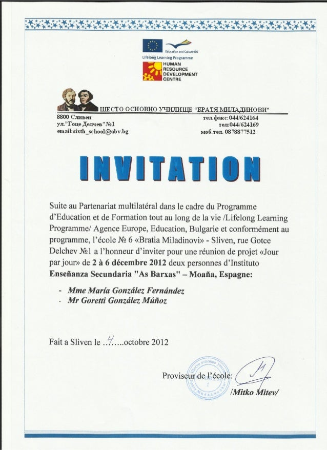 Invitation Bulgarie