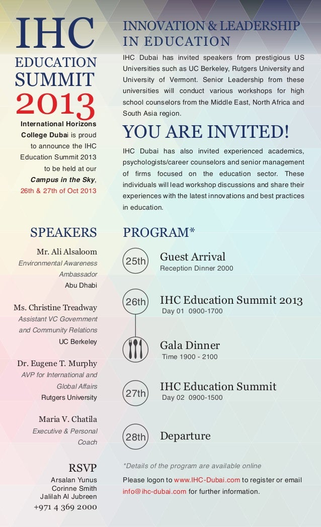 IHC  INNOVATION & LEADERSHIP IN EDUCATION  EDUCATION  IHC Dubai has invited speakers from prestigious US  2013  University...