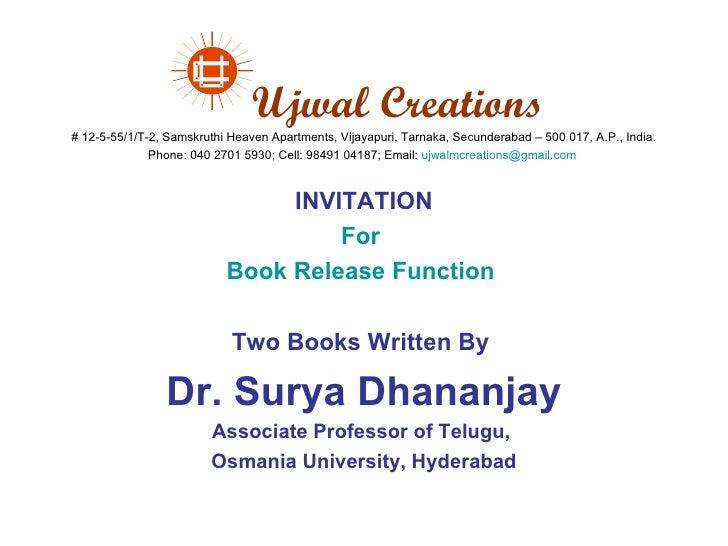 Ujwal Creations # 12-5-55/1/T-2, Samskruthi Heaven Apartments, Vijayapuri, Tarnaka, Secunderabad – 500 017, A.P., India. P...