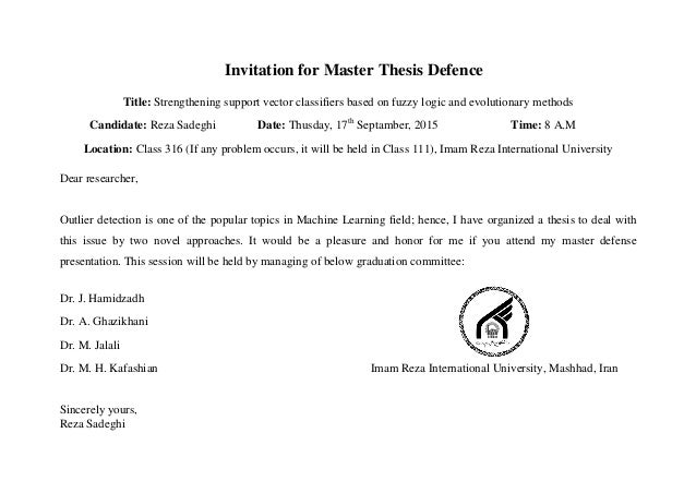 Phd thesis committee invitation letter