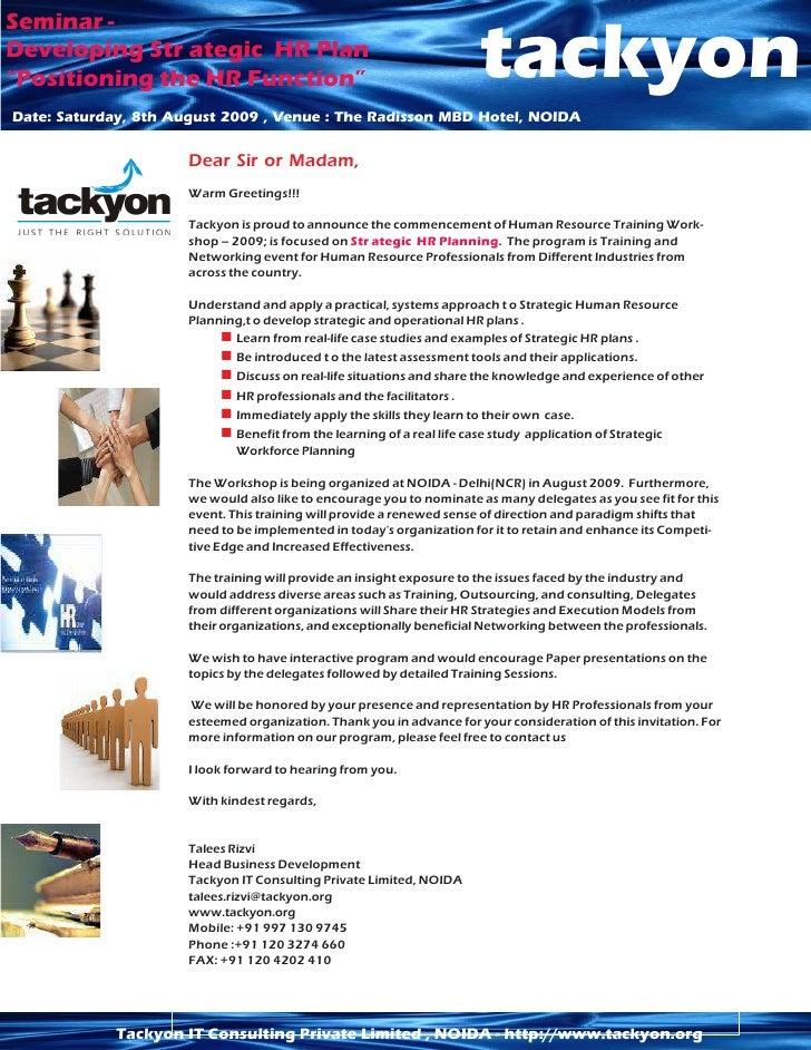 "Seminar - Developing Str ategic HR Plan ""Positioning the HR Function""                                          tackyon Dat..."