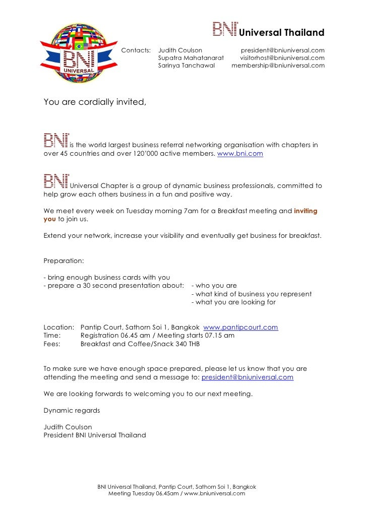 Attirant BNI Universal Meeting Invitation Letter. Universal Thailand Contacts:  Judith Coulson ...