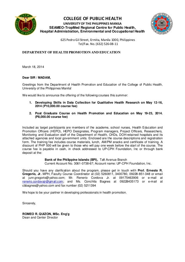 Invitation letter for the course on qualitative research health pro college of public health university of the philippines manila seameo tropmed regional centre for public stopboris Choice Image