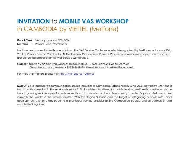Invitation letter for mvas workshop of viettel cambodia metfone invitation to mobile vas workshop in cambodia by viettel metfone date time agendavas service conference time content stopboris Choice Image