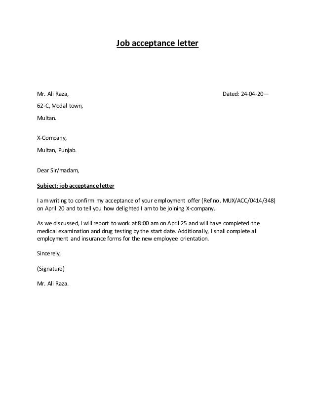Types of letters job acceptance letter expocarfo Image collections