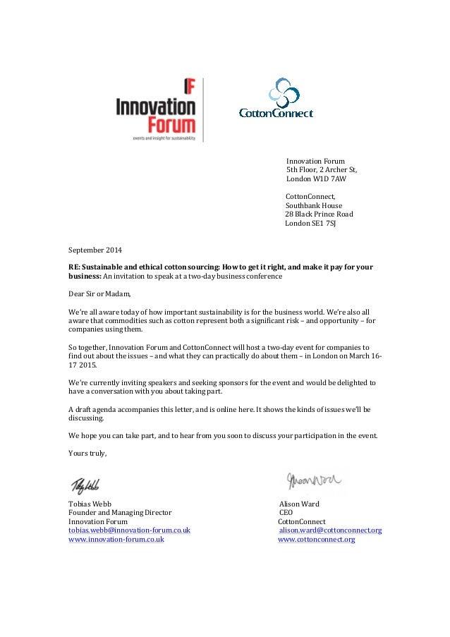 Invitation letter march 1617 2015 sustainable cotton forum london