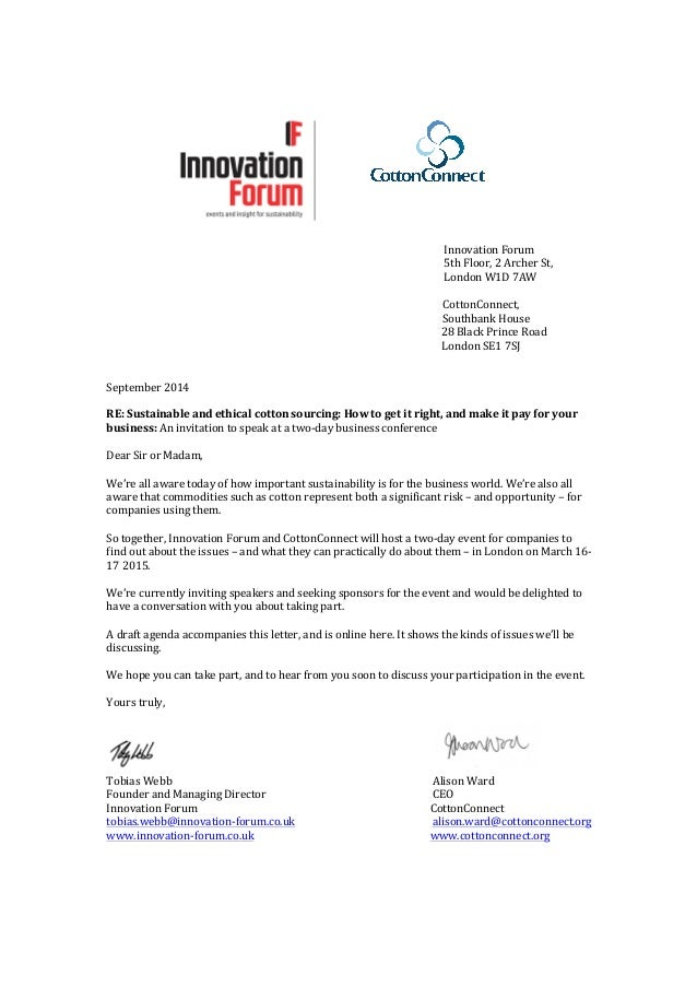 Invitation Letter March 16 17 2015 Sustainable Cotton Forum London