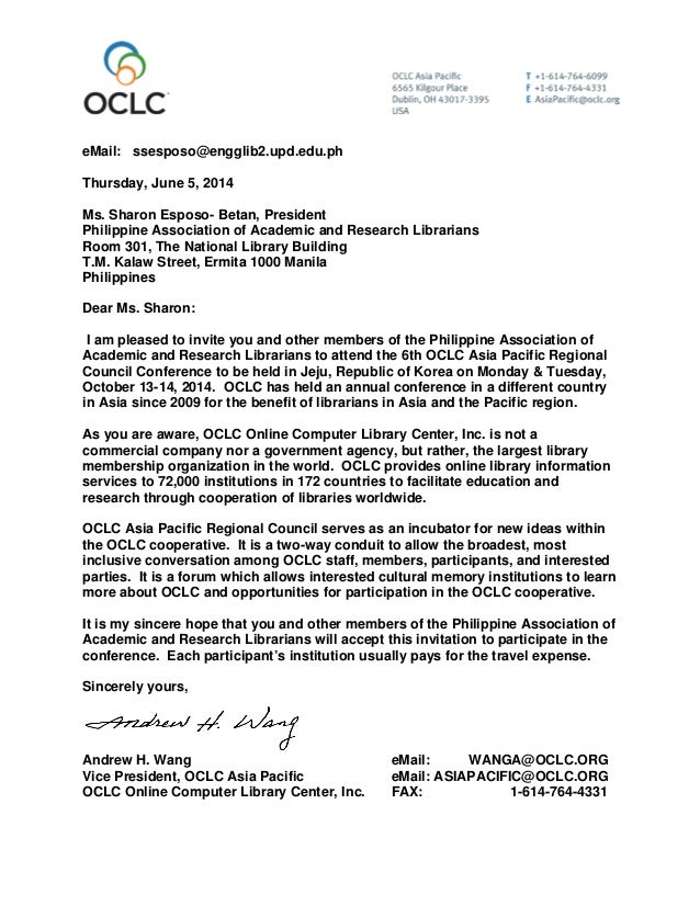 letter of invitation for conference speakers invitation letter to oclc 14482