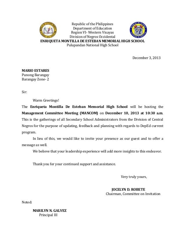 Republic Of The Philippines Department Of Education Region VI  Western  Visayas Division Of Negros Occidental Invitation Letter Mancom. Upcoming  SlideShare  Formal Letter Of Intent