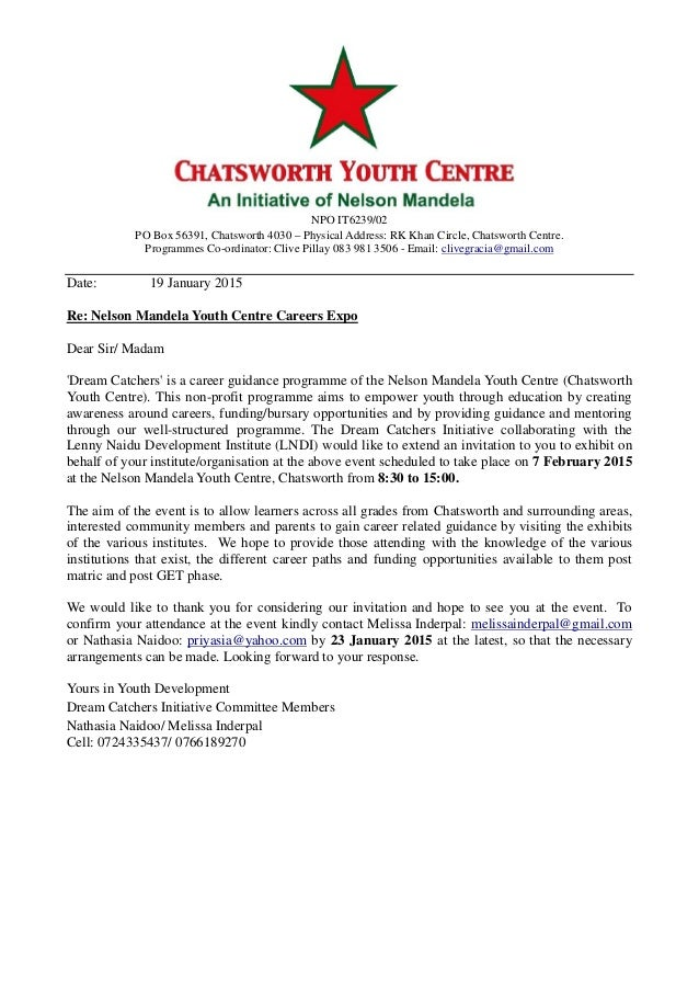 Invitation letter to careers expo 2015 invitation letter to careers expo 2015 npo it623902 po box 56391 chatsworth 4030 physical address rk khan stopboris Gallery