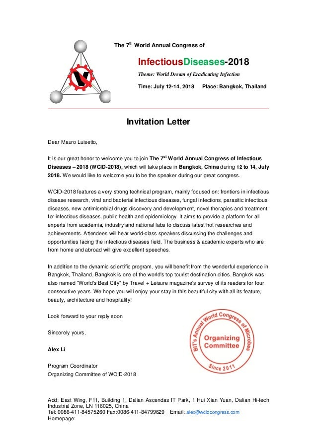 Invitation letter wcid 2018-1 world annual congress of infectious dis…