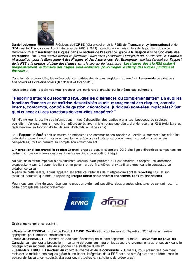 Daniel Lebègue, Président de l'ORSE (Observatoire de la RSE) de Transparency International et de l'IFA (Institut Français ...