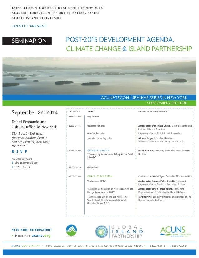 Invitation Of Seminar On Post 2015 Agenda Climate Change And Island