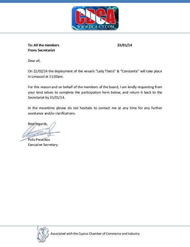 """To: All the members From: Secretariat  23/01/14  Dear all, On 22/02/14 the deployment of the vessels """"Lady Thetis"""" & """"Cons..."""
