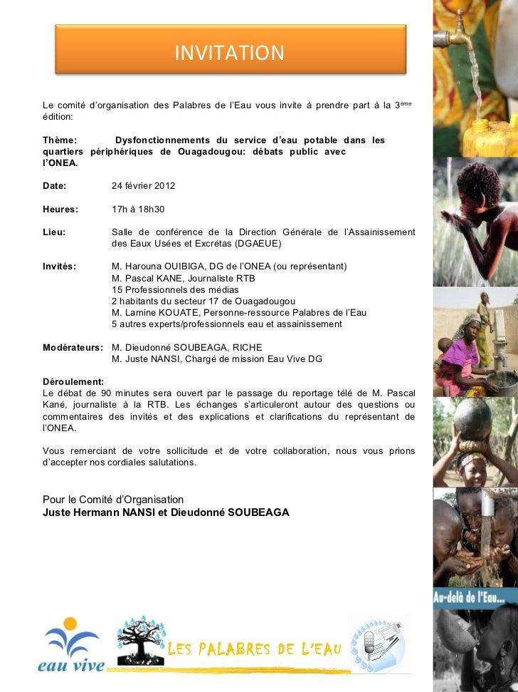 Invitation publique palabres de l'eau fevrier 2012