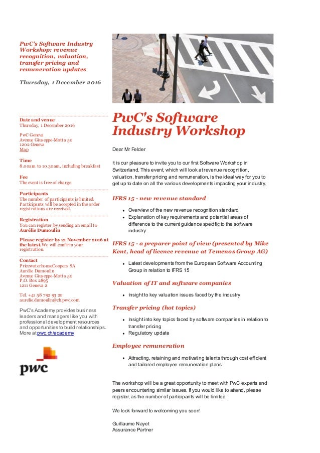 invitation pw c s software industry workshop 2016