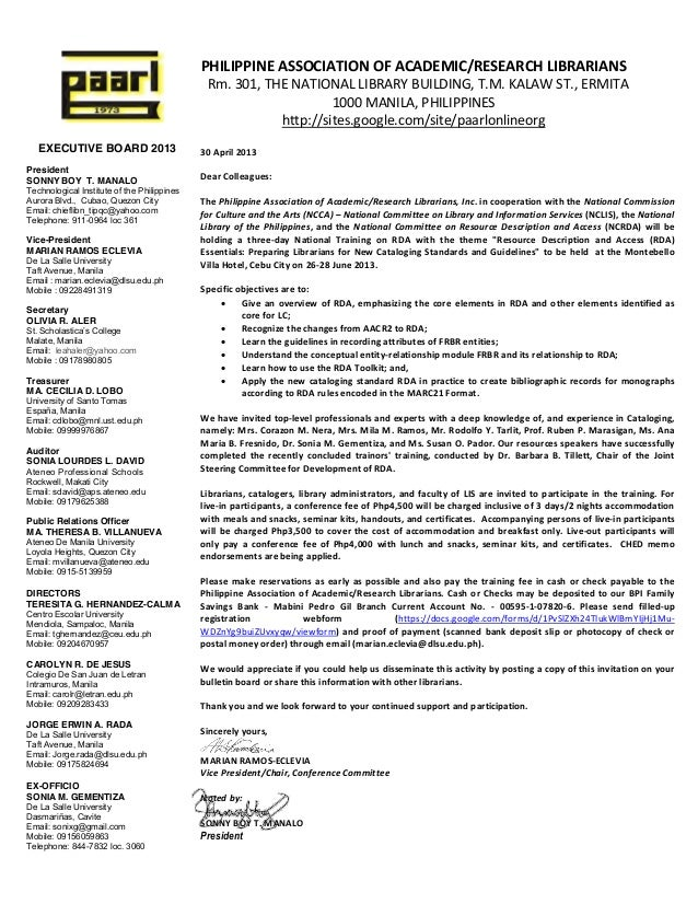 Invitation letter to rda training in cebu invitation letter to rda training in cebu executive board 2013presidentsonny boy t manalotechnological institute of the philippinesaurora blvd cubao stopboris Choice Image