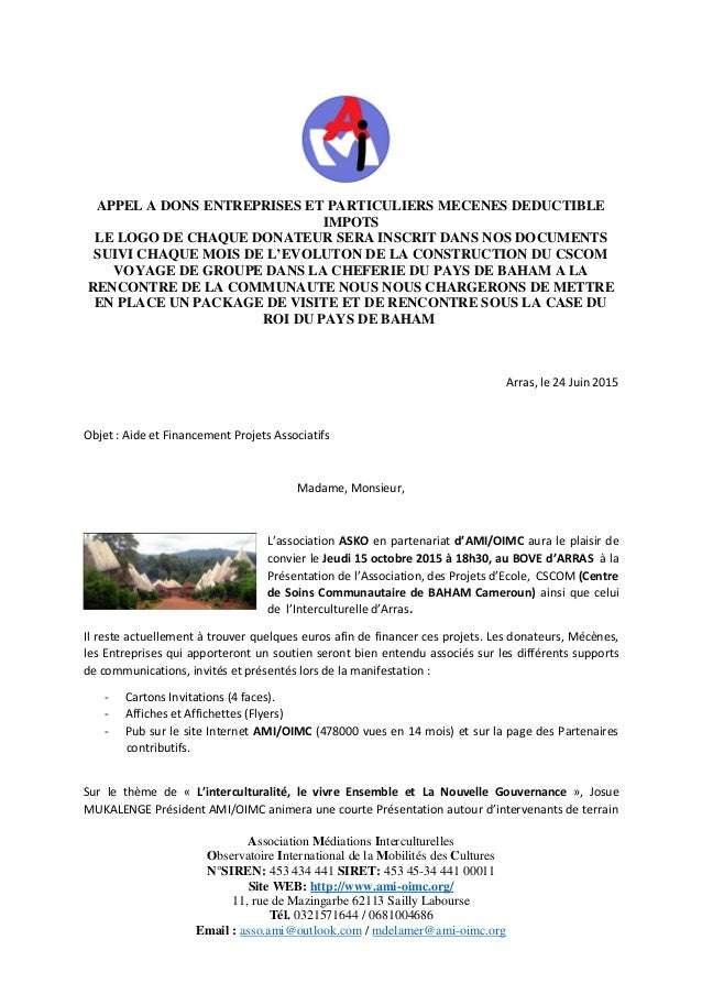 Association Médiations Interculturelles Observatoire International de la Mobilités des Cultures N°SIREN: 453 434 441 SIRET...