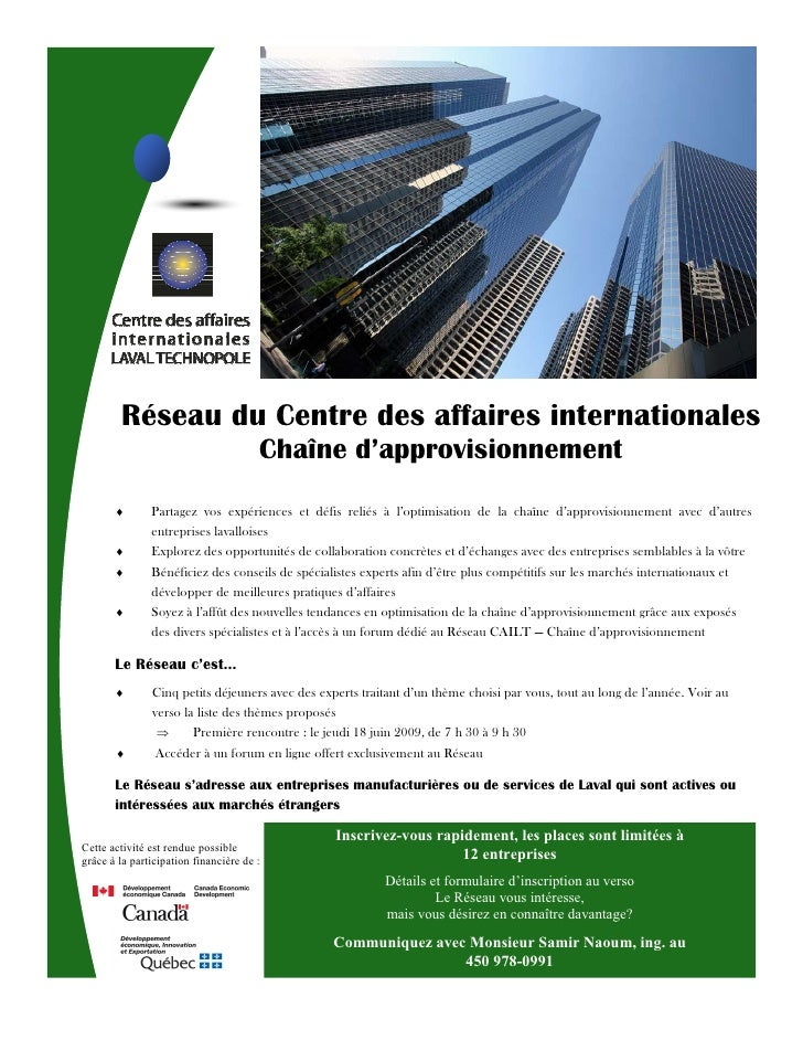 Réseau du Centre des affaires internationales                                        Chaîne d'approvisionnement           ...