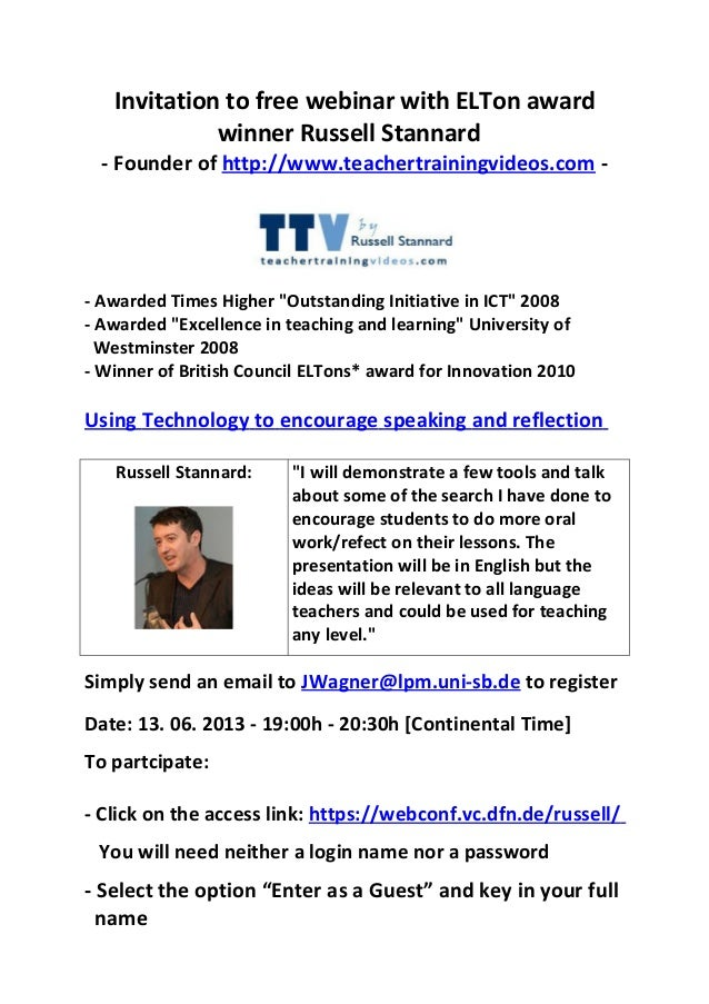 Invitation to free webinar with ELTon awardwinner Russell Stannard- Founder of http://www.teachertrainingvideos.com -- Awa...