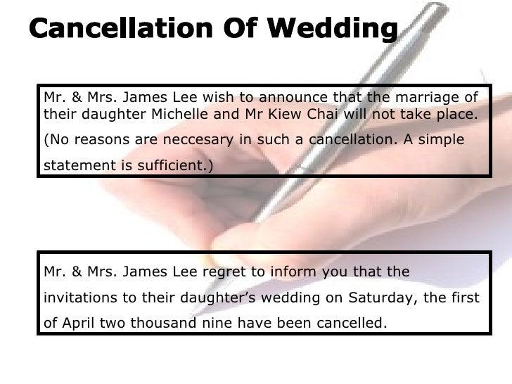 Wedding Cancellation Letter