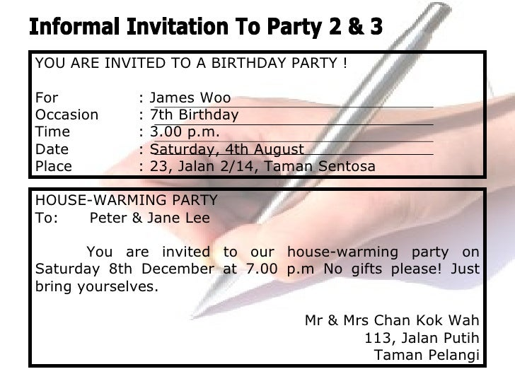 Invitations - Informal invitation letter to a birthday party