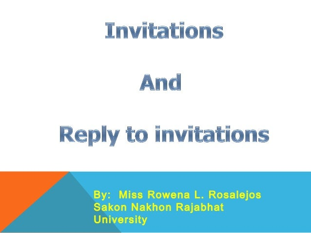 Invitations and Replies to Invitations – Reply to Party Invitation