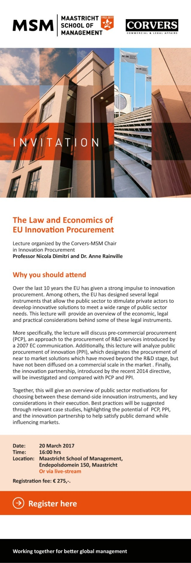 Invitation lecture The law and Economics of EU Innovation Procurement