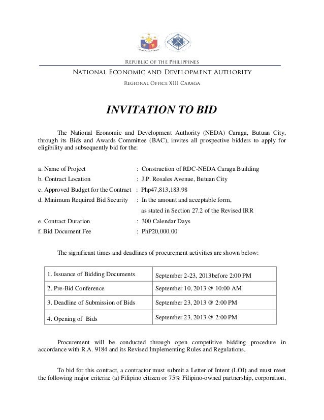 Invitation to bid republic of the philippines national economic and development authority regional office xiii caraga invitation to bid stopboris Images