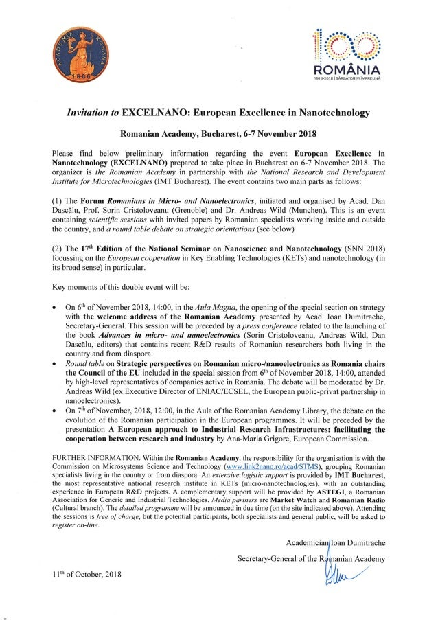 Excelnano, 6-7 noiembrie 2018, Academia Română