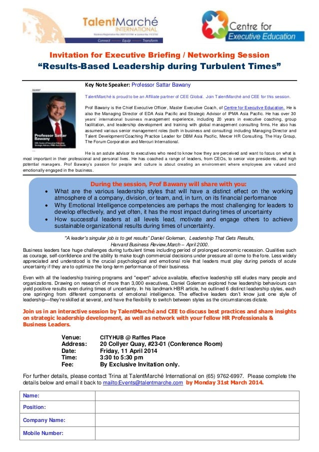 "Invitation for Executive Briefing / Networking Session ""Results-Based Leadership during Turbulent Times"" Key Note Speaker:..."