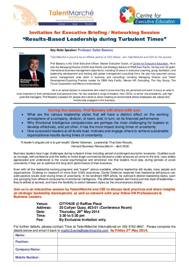 """Invitation for Executive Briefing / Networking Session """"Results-Based Leadership during Turbulent Times"""" Key Note Speaker:..."""