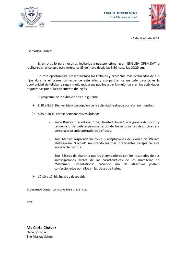 Invitation To Parents English Open Day 2011 Spanish English
