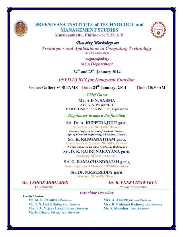 SREENIVASA INSTITUTE of TECHNOLOGY and MANAGEMENT STUDIES Murukambattu, Chittoor-517127, A.P. Two day Workshop on  Techniq...